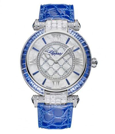 ساعت مچی 40 میلیمتری «ایمپریال» از طلای سفید با الماس و یاقوت کبود از شوپارد