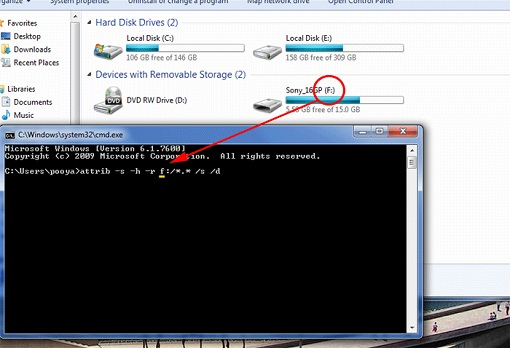 روش حذف ویروس شورتکات Shortcut از فلش مموری و بازگردانی اطلاعات