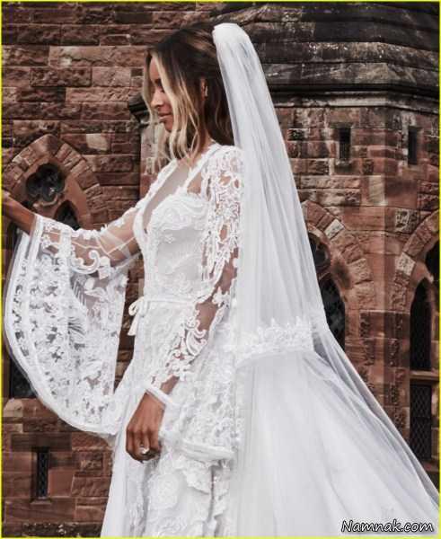 عکس سی یرا لباس عروس آستین بلند گلدار شیک