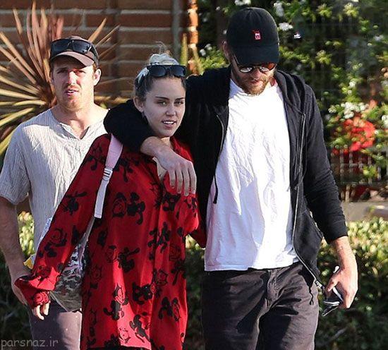 خواننده مشهور مایلی سایرس و نامزدش لیام همسورث