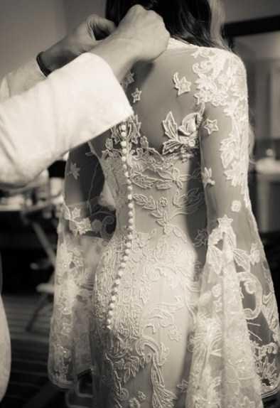 لباس عروس آستین کلوش گیپور شیک سی یرا