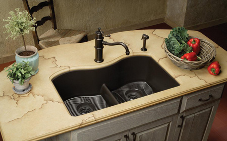 عکس های مدل سینک آشپزخانه مشکی و قهوه ای رنگ