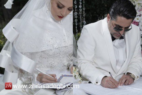 عکس های جدید ژیلا صادقی مجری معروف ایرانی در لباس عروس در کنار همسرش