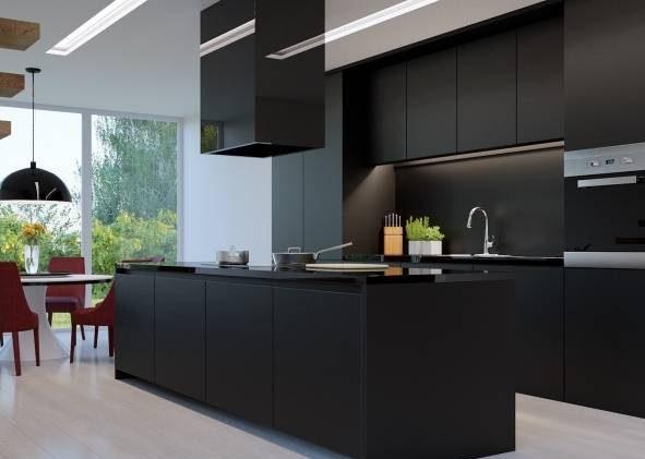 طرح مدرن کابینت مشکی آشپزخانه