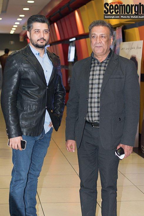 عکس عبدالرضا اکبری و پسرش پندار اکبری در اکران فیلم نفس