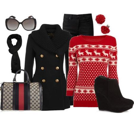 عکس های ست لباس های گرم پاییزی و زمستانی به رنگ مشکی و قرمز