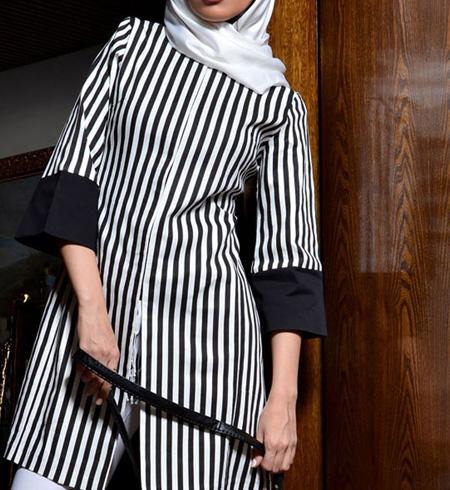 عکس مدل مانتو سیاه و سفید جدید