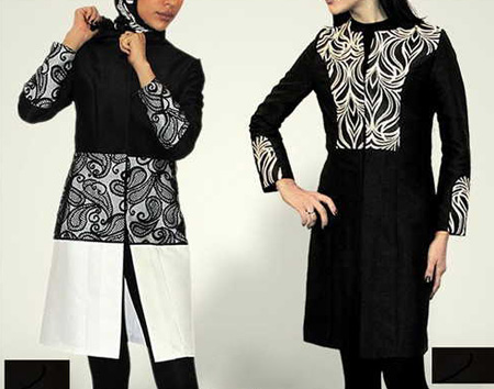 عکس های جدیدترین مدل های مانتو سیاه و سفید زیبا