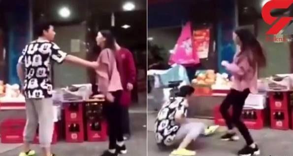 عکس های دیدنی از کتک خوردن یک پسر از دوست دخترش در خیابان!