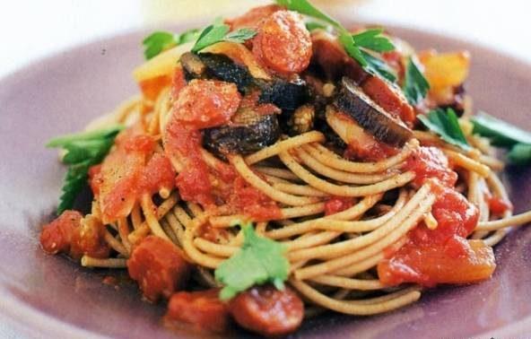 اسپاگتی با سس بادمجان