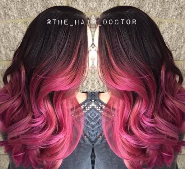 رنگ موی آمبره شرابی انگوری جدید