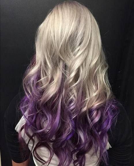 رنگ موی آمبره بلوند و ترکیب ارغوانی جوهری