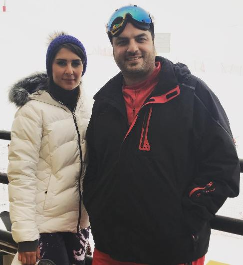 عکس سام درخشانی در کنار زنش عسل در پیست اسکی