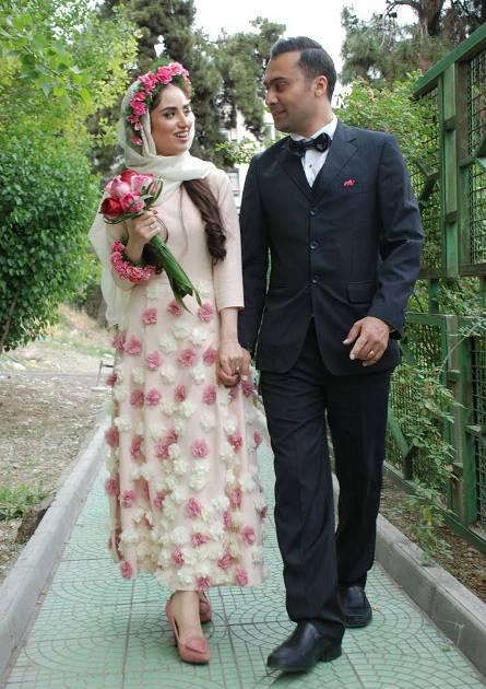 عکس های خانم بازیگر جوان هانیه غلامی در مراسم عقد در کنار شوهرش