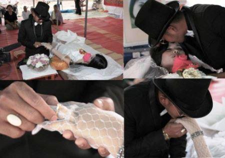ازدواج عجیب مرد تایلندی با عروس مرده + عکس عروسی پس از مرگ