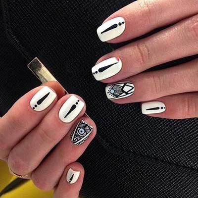 مدل طراحی ناخن به شکلی جدید و زیبا طراحی ناخن سیاه و سفید