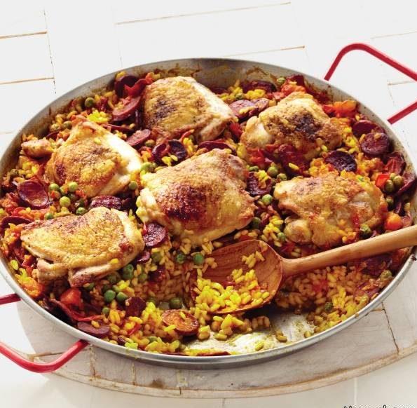 پاپیای مرغ Paella غذای اسپانیایی