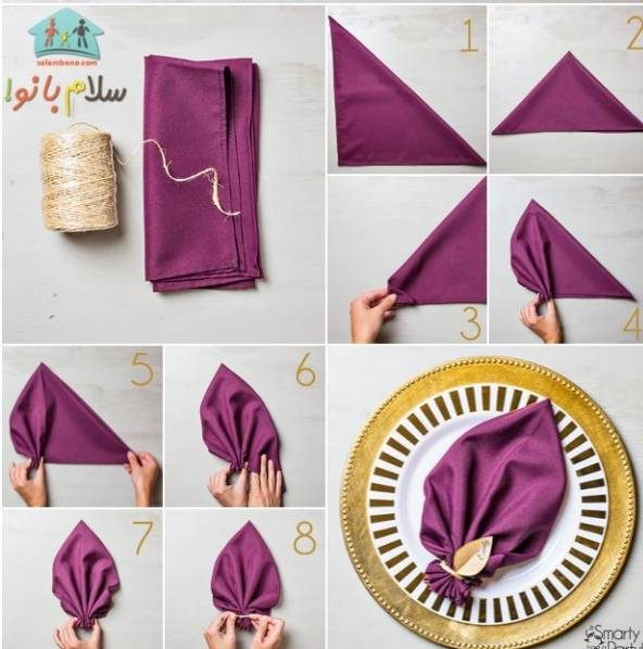 روش تزیین دستمال سفره به شکل برگ
