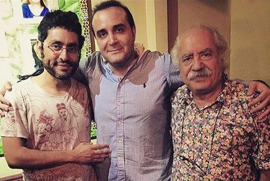 عکس سینا سرلک در کنار استاد بهزاد فراهانیوپسر هنرمندش آذرخش فراهانی