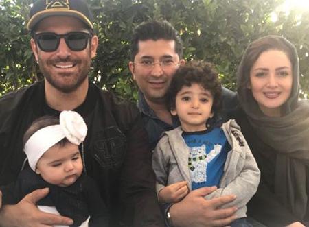 شیلا خداداد و همسرش دکتر فرزین سرکارات و فرزندانشان در کنار محمدرضا گلزار