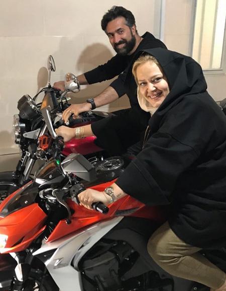 موتور سورای بهاره رهنما و همسرش