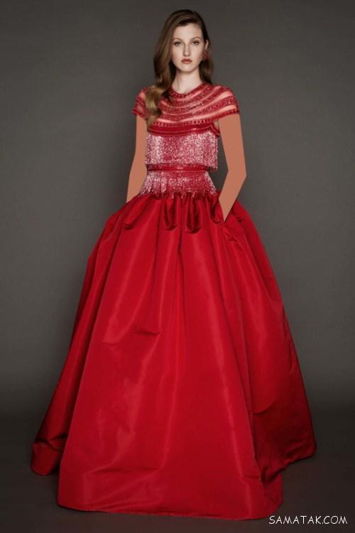مدل لباس مجلسی زنانه در رنگ های قرمز و مشکی
