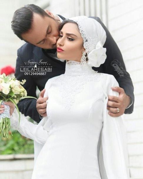 عکس مراسم عروسی هانیه غلامی بازیگر و بوسه عاشقانه هانیه غلامی و داماد
