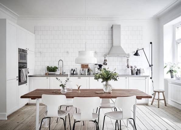 تصاور دکوراسیون آشپزخانه با کابینت های سفید