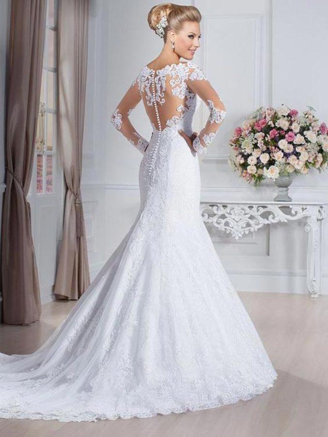 مدل لباس عروس دنباله دار دانتل و لباس عروس آستین دار