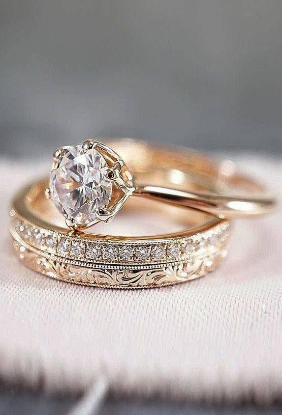 مدل حلقه ازدواج دوتکه تک نگین