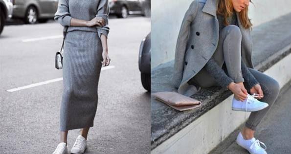 ست کردن لباس زنانه با کفش کتانی