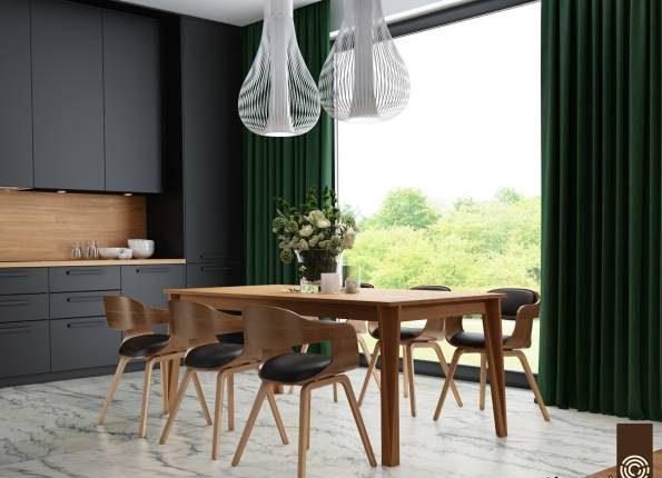 تصاویر اتاق غذاخوری مشکی مدرن با چوب و دیگر متریال