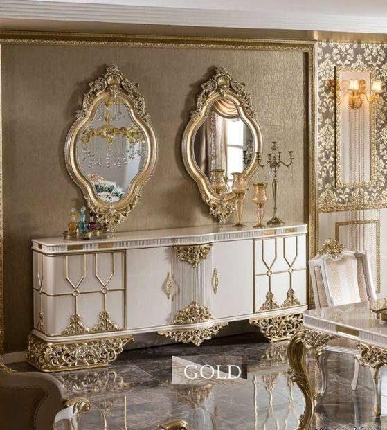عکس های مدل آینه کنسول عروس سلطنتی سفید و طلایی