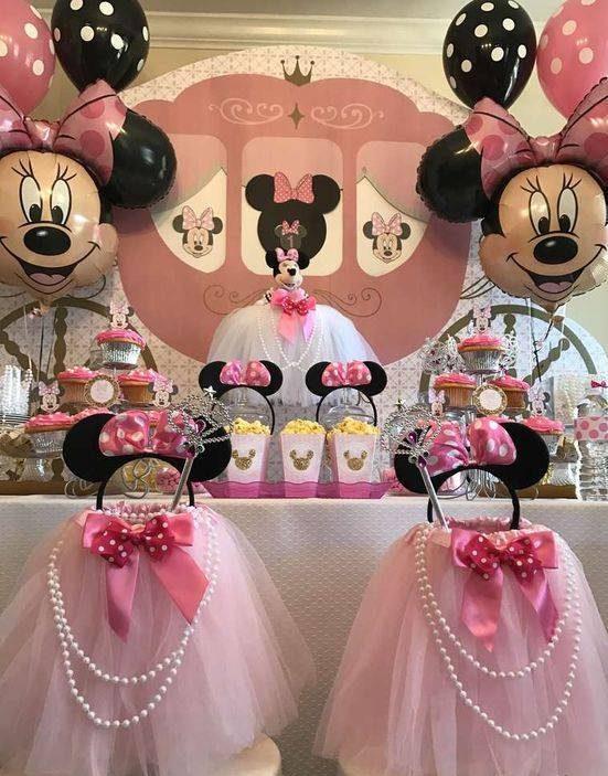 عکس های تزیین جشن تولد دخترانه با تم میکی موس و صورتی