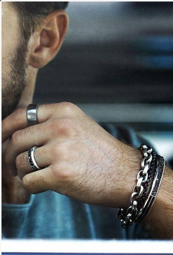 مدل های انگشتر مردانه استیل و نقره با نگین مشکی رنگ زیبا
