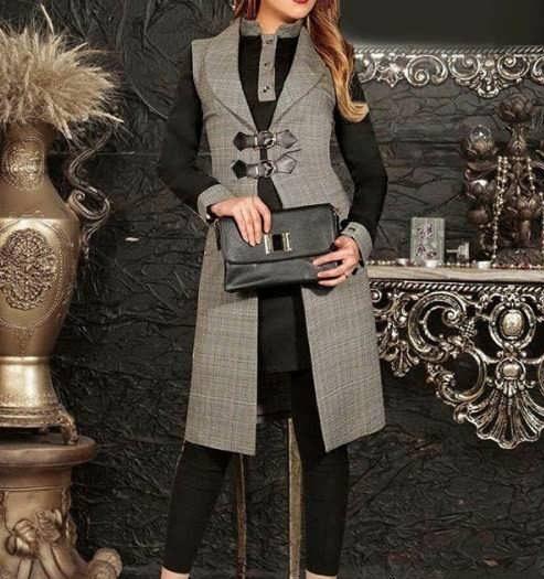 Manto Laghar 18 e1531079285840 مدل مانتو کوتاه و بلند شیک برای دختران و زنان لاغر اندام مدل لباس