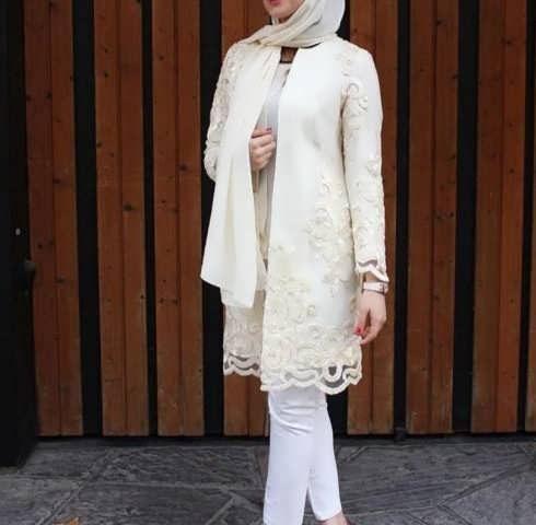 Manto Laghar 19 e1531079306555 مدل مانتو کوتاه و بلند شیک برای دختران و زنان لاغر اندام مدل لباس