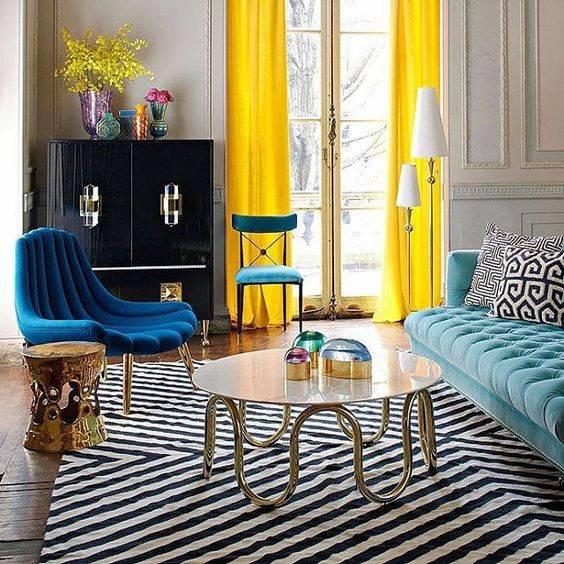 دکوراسیون آبی و زرد