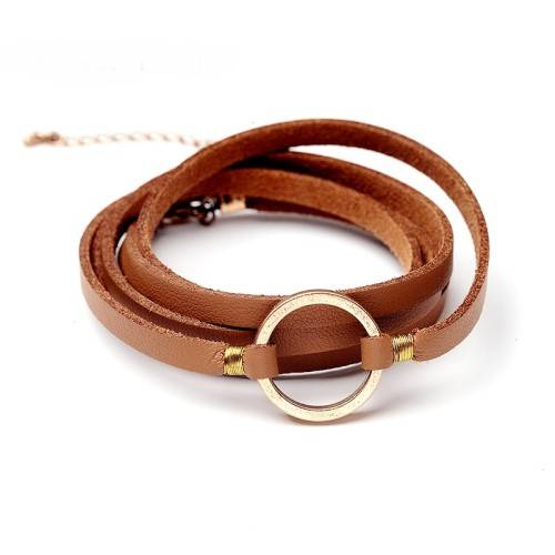 مدل دستبند چرم طلا زنانه