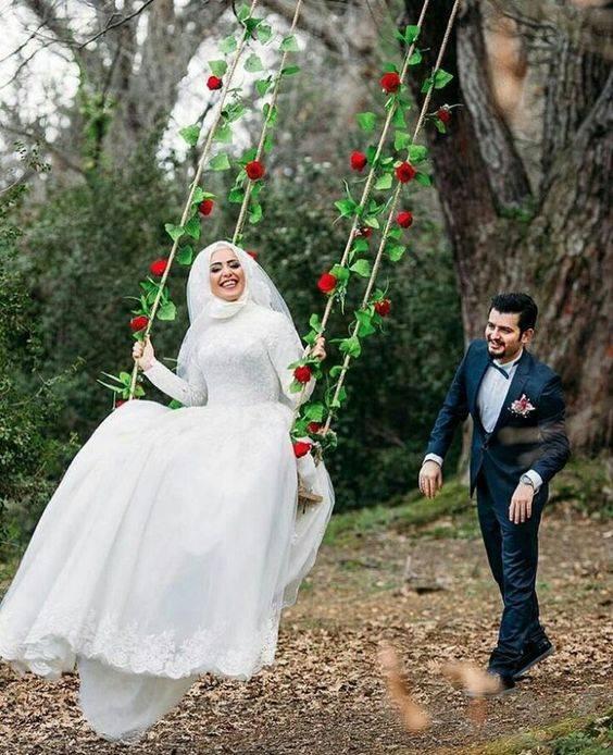 ایده های عکاسی عروس روی تاب و در جنگل و فضای سبز