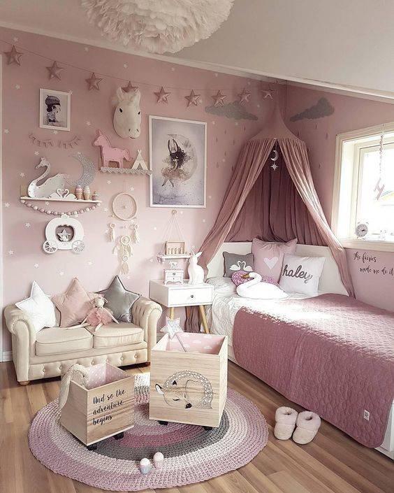 دکوراسیون اتاق خواب دخترانه به رنگ صورتی