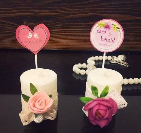 مدل زیبای گیفت عروسی با شمع با تزیینات بسیار شیک و لاکچری
