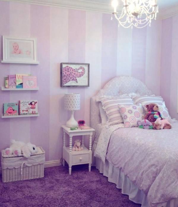 تصاویر دکوراسیون و تزیینات اتاق کودک با تم بنفش