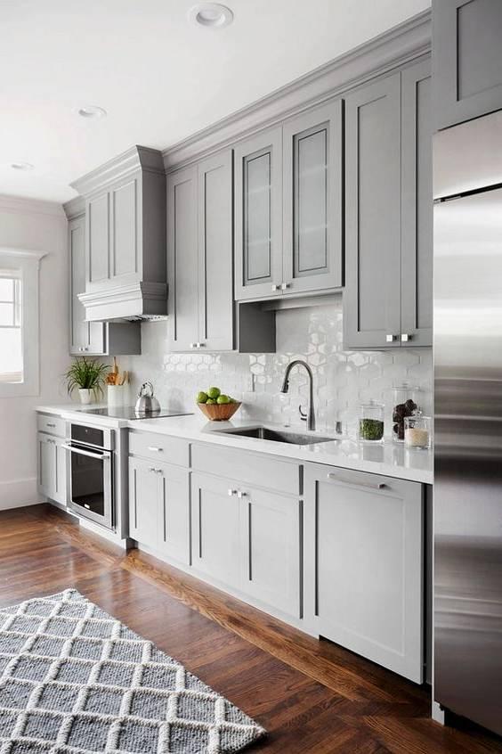 دکوراسیون طوسی رنگ و مدل های کابینت آشپزخانه به رنگ طوسی
