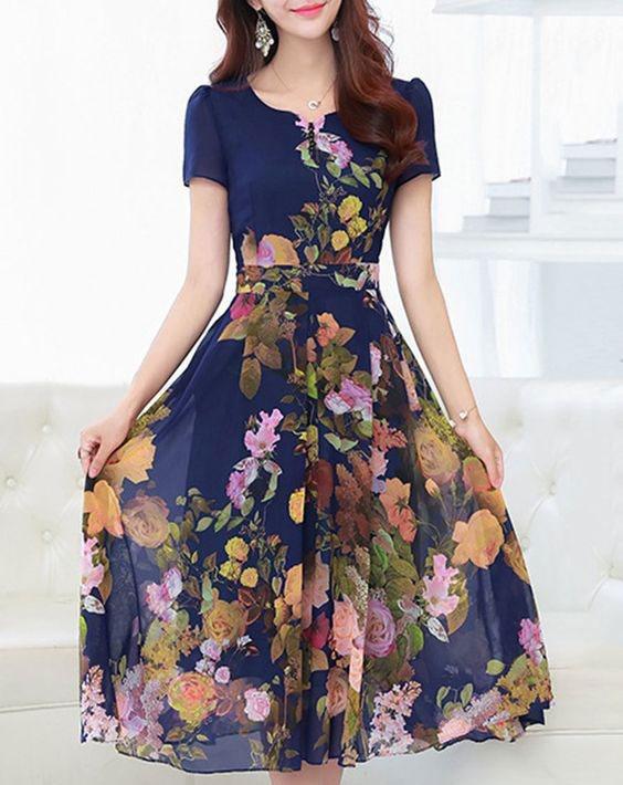 ۲۰ مدل پیراهن گلدار بلند شیک زنانه
