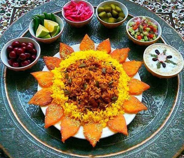 تزیین غذای عروس و داماد