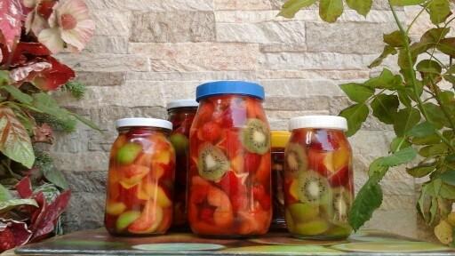 طرز تهیه ترشی چند میوه + ترشی چند میوه شامل سیب، پرتقال و کیوی