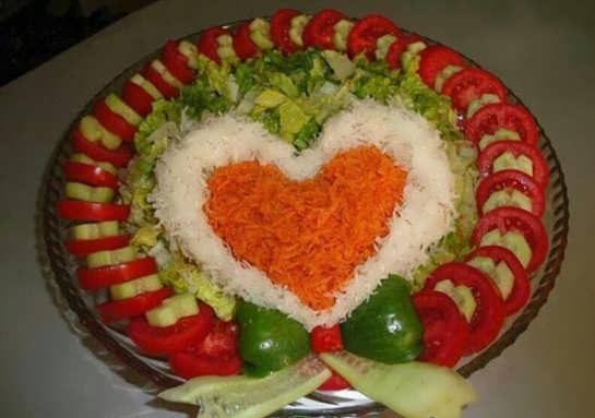 تزیین غذا به شکل قلب