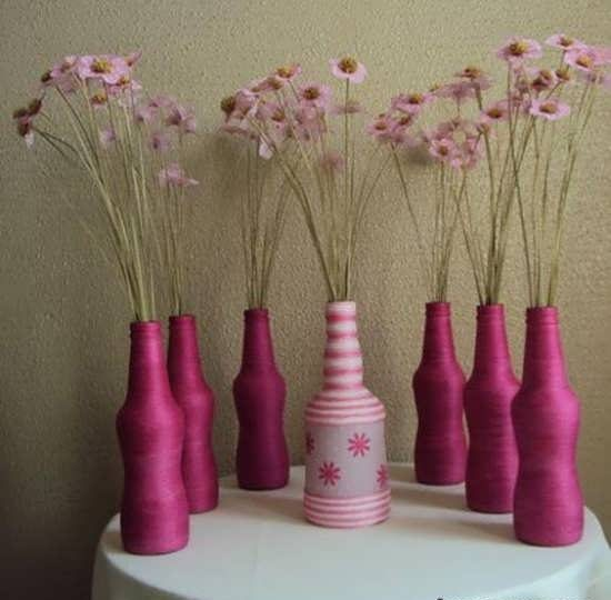 تزیین گلدان شیشه ای