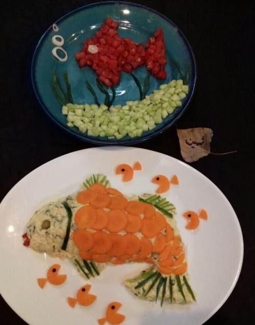 تزیین سالاد به شکل ماهی